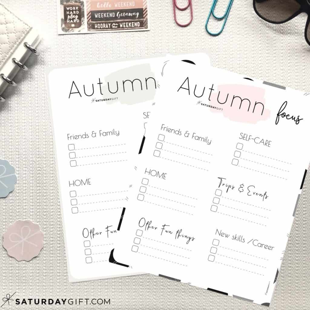 Pink and beige Autumn Plans and Goals Worksheets
