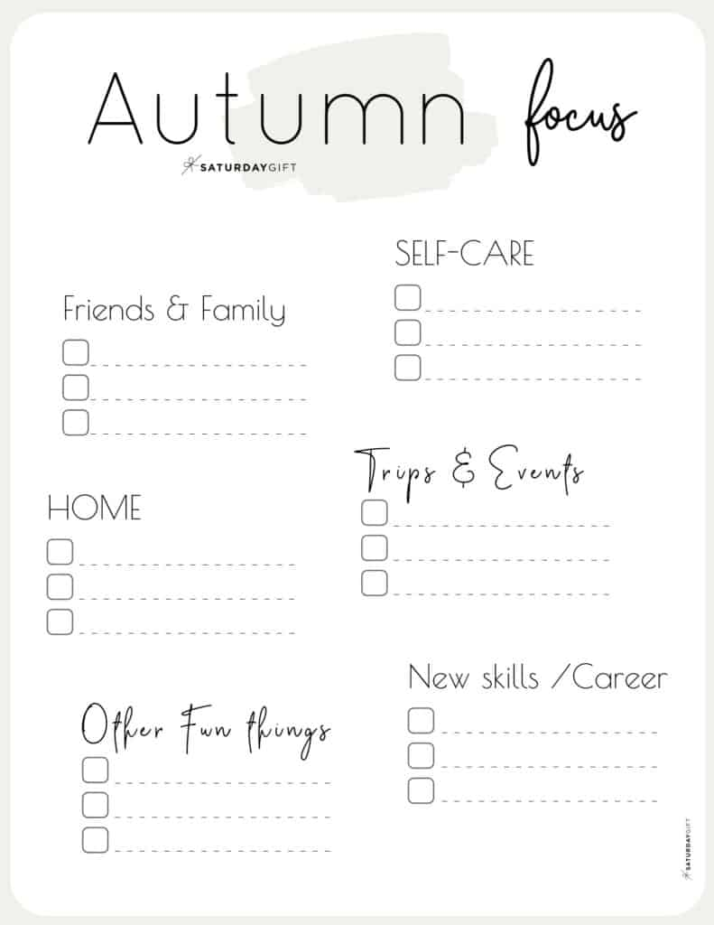 Beige Autumn Focus Worksheet for September, October & November