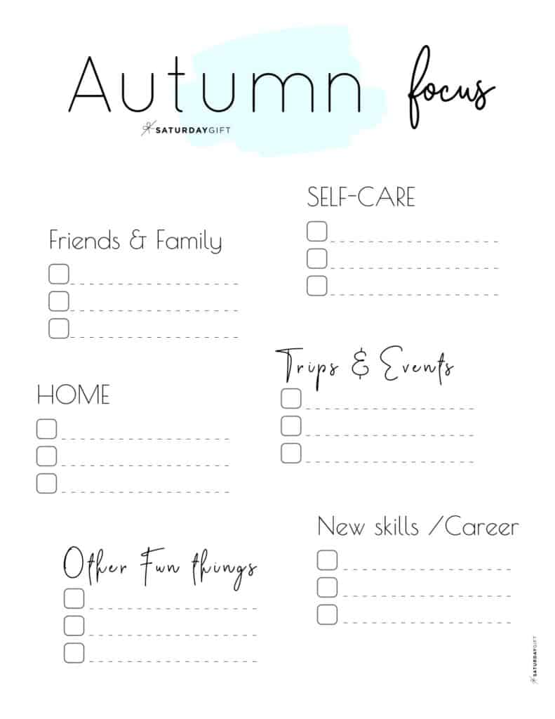 Blue Autumn Focus Worksheet for September, October & November