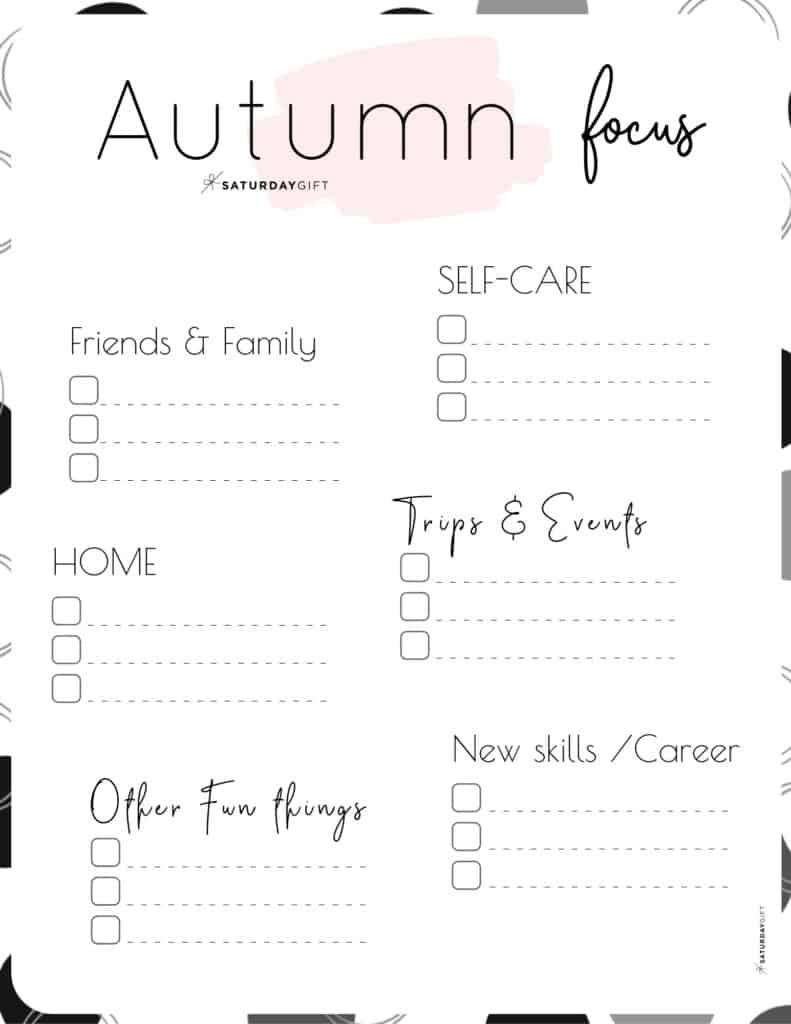 Pink Autumn Focus Worksheet for September, October & November
