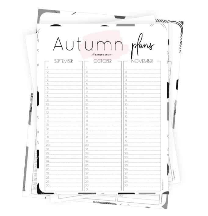 Minimal Autumn Planner for September, October and November {Free Printable Calendar Worksheet}