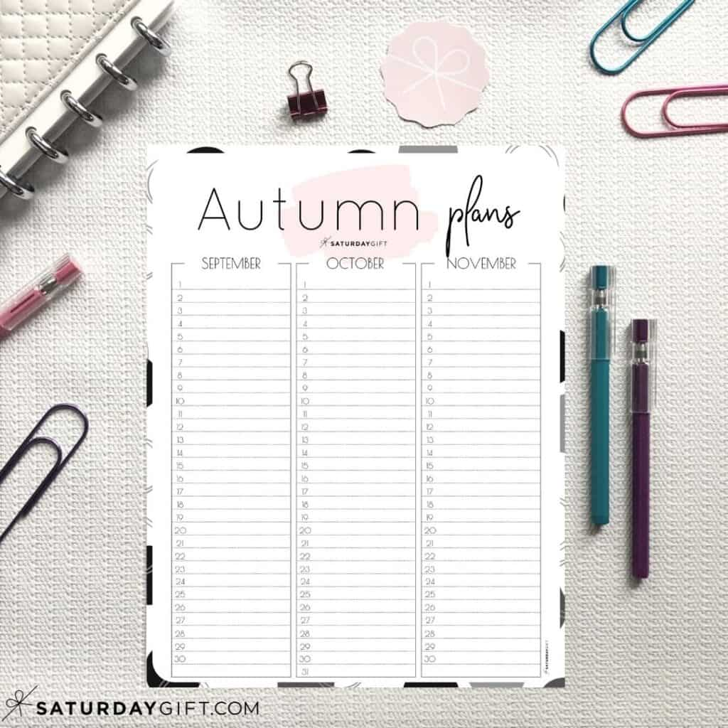 Pink Minimal Autumn Planner for September, October and November {Free Printable Calendar Worksheet}