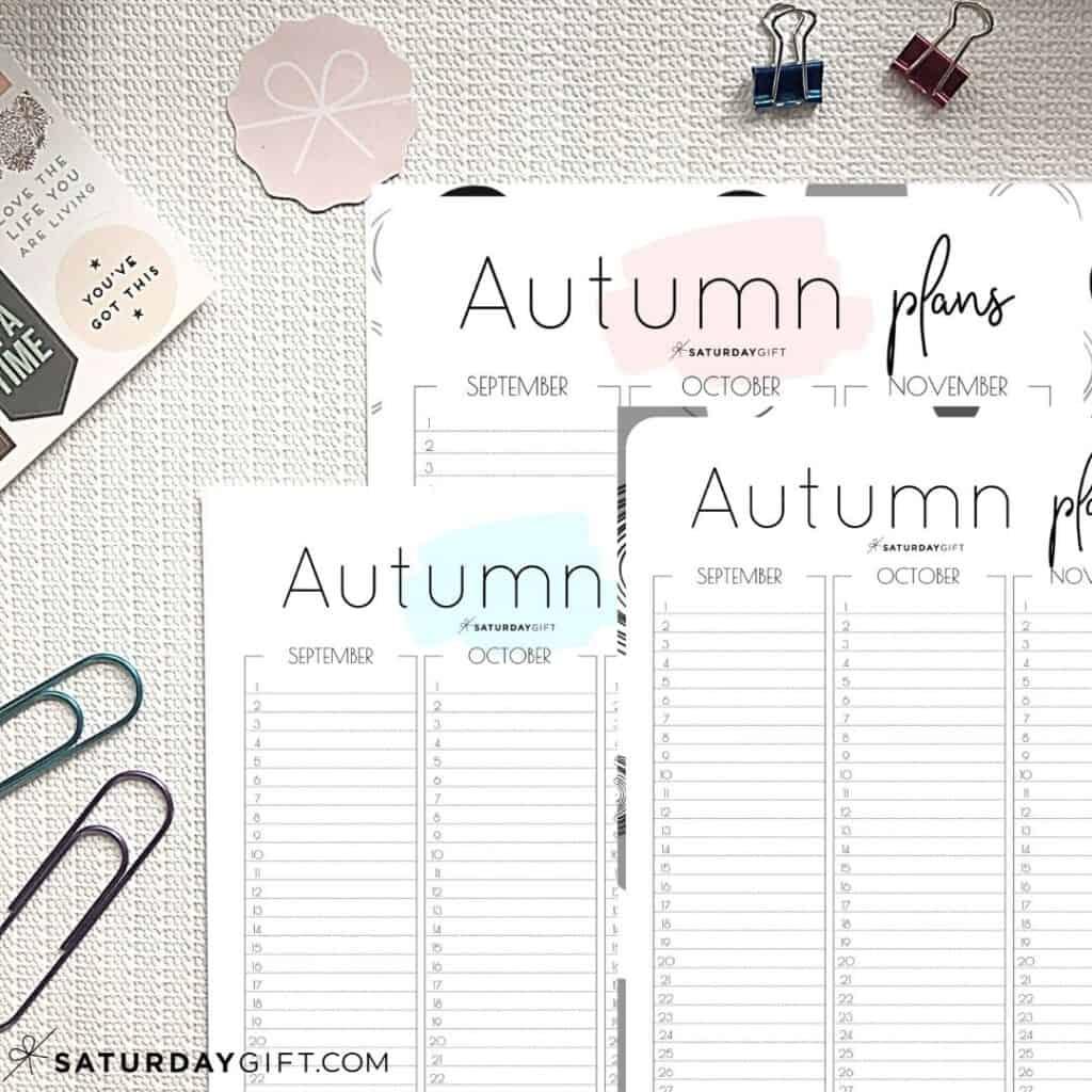 Pink, Blue and Black&White Minimal Autumn Planner for September, October and November {Free Printable Calendar Worksheet}