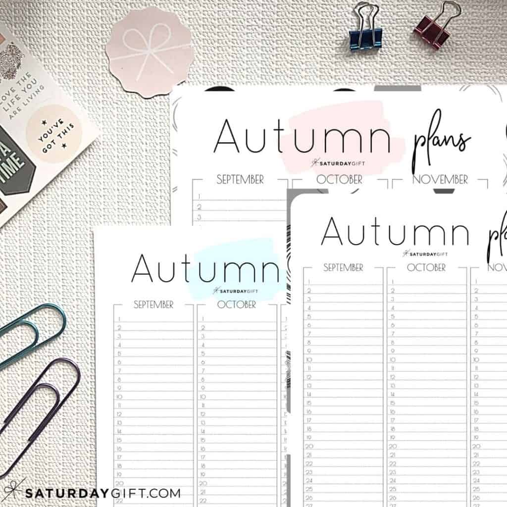 Minimal Autumn Planner for September October November IMG2 {Free Printable Calendar Worksheet} | SaturdayGift