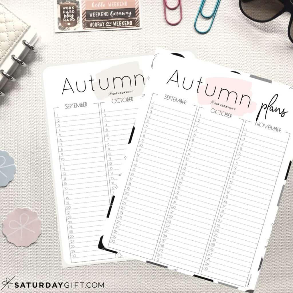 Beige and pink minimal Autumn Planner for September, October and November {Free Printable Calendar Worksheet}