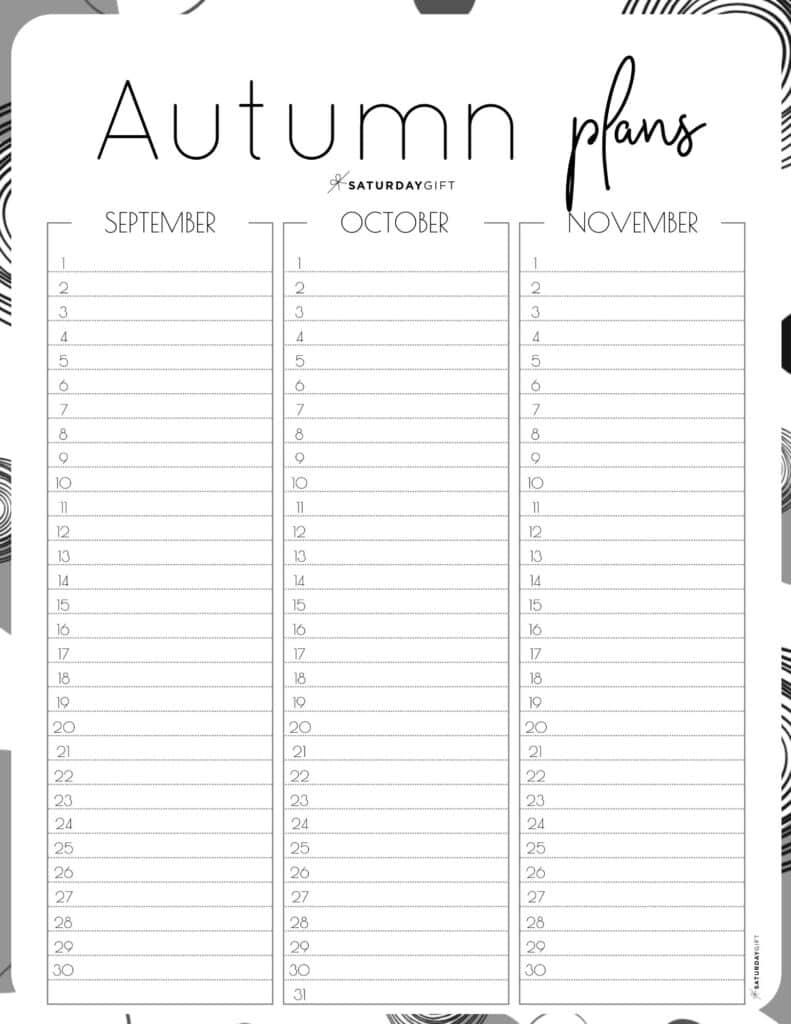 Black & White one-page Autumn planner sheet.