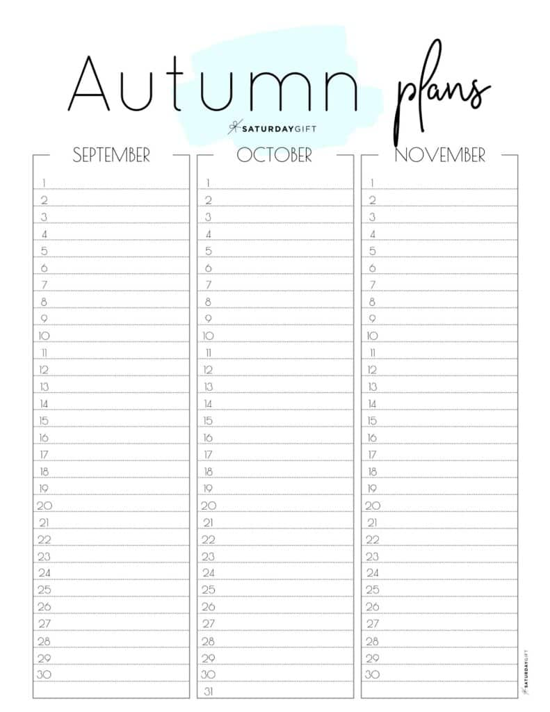 Cute blue one-page Autumn planner sheet for September, October & November