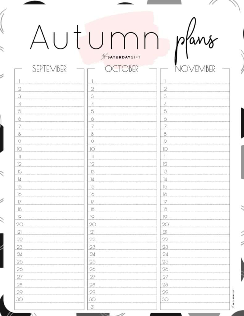 Cute pink one-page Autumn planner sheet.
