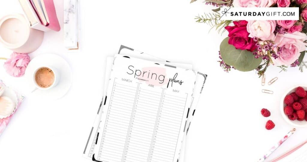 12 Week Plan - Minimal Spring Planner for March, April & May Free Printables Featured | SaturdayGift