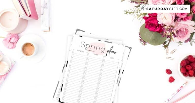Minimal Spring Planner for March, April & May