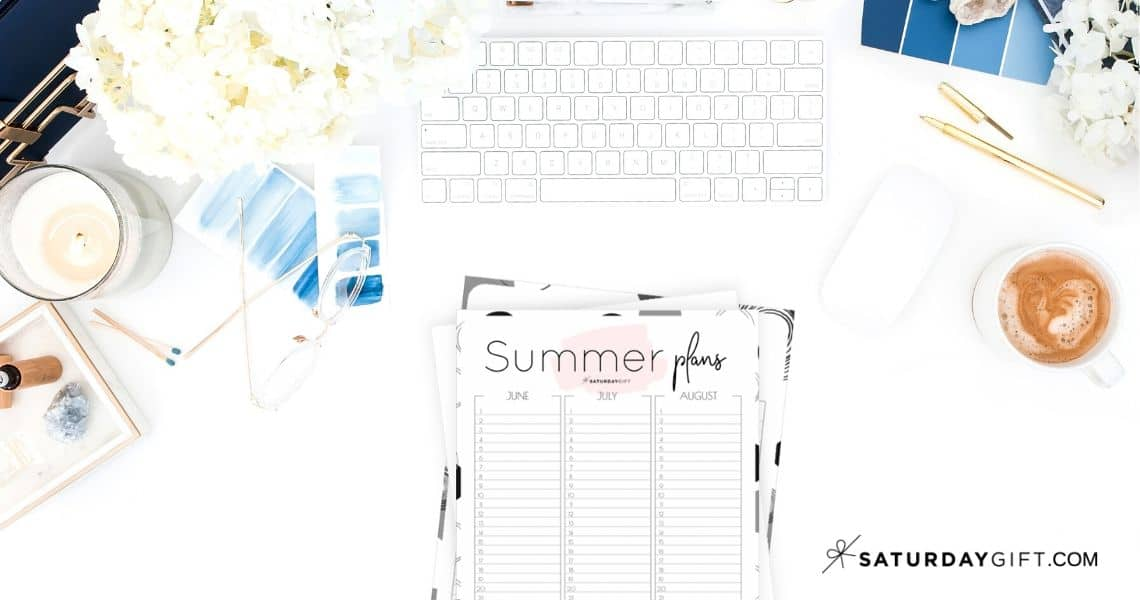 12 Week Plan - Minimal Summer Planner for June July August {Free Printable Calendar Worksheet} | SaturdayGift