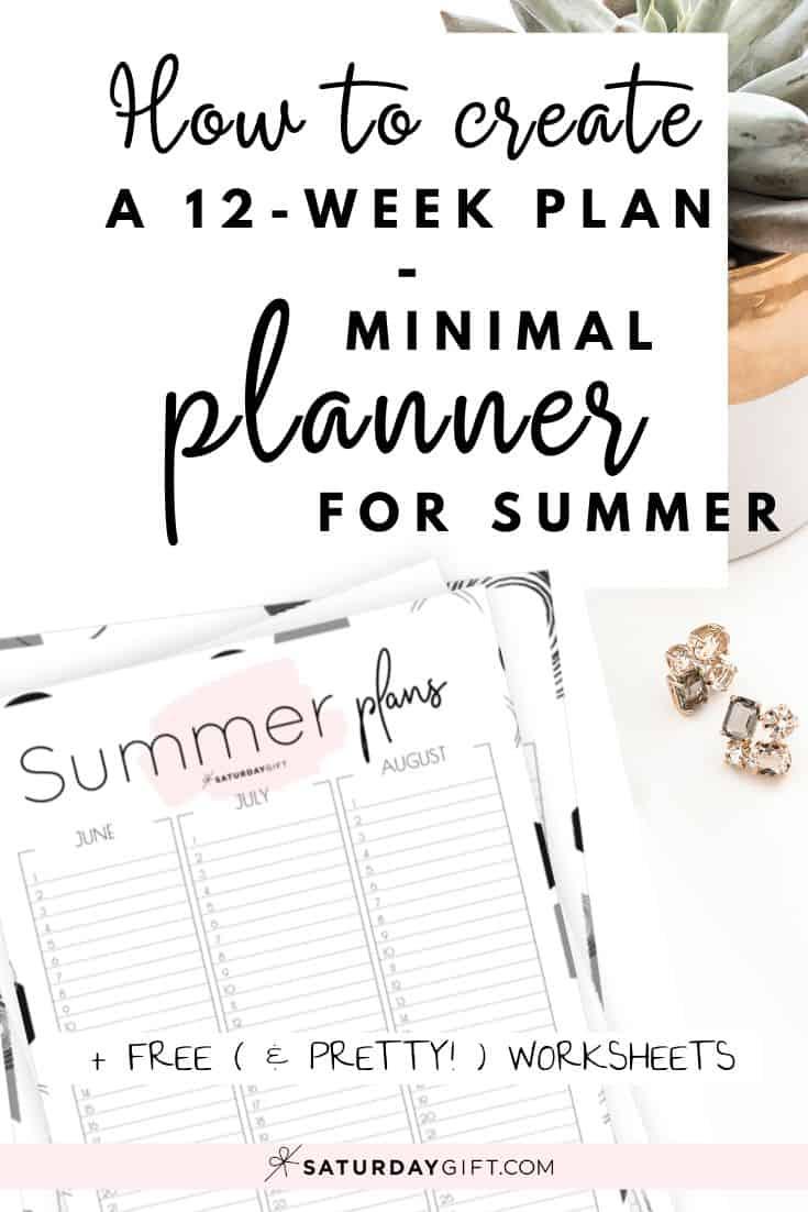Want to be organized and plan your summer? Here\'s a minimal summer planner/calendar to create a 12-week plan for June, July & August. Free printable worksheets. Cute & practical.