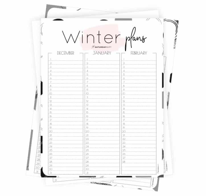 Minimal Winter Planner for December January February ALL {Free Printable Calendar Worksheet}