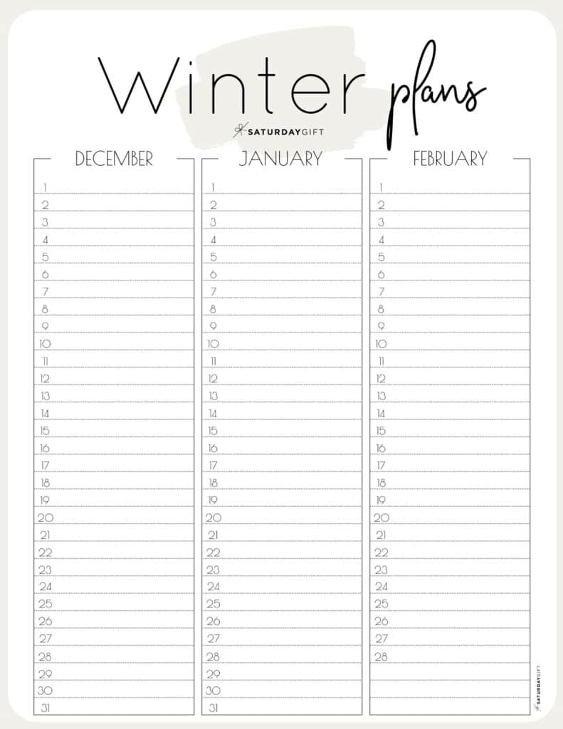 Beige minimal one-page winter calendar planner sheet