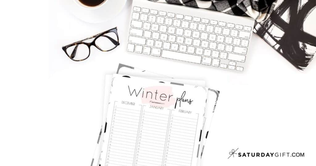 12 Week Plan - Minimal Winter Planner for December, January and February {Free Printable Calendar Worksheet}