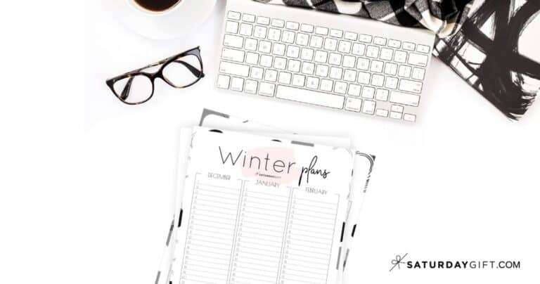 Minimal Winter Planner Sheet For December, January & February