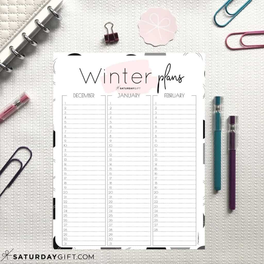 Pink minimal Winter Calendar - December, January and February on one page
