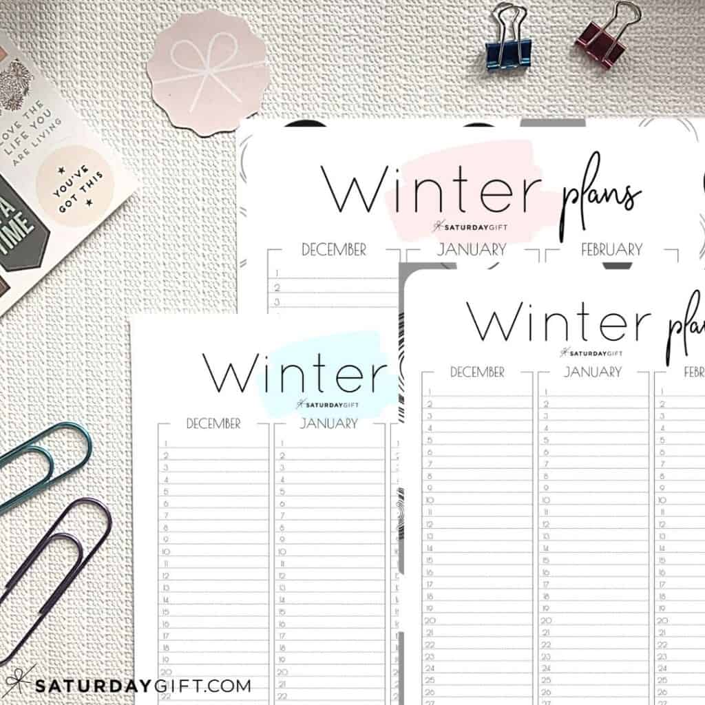Pink, Blue and Black&White Minimal Winter Calendar - December, January and February on one page