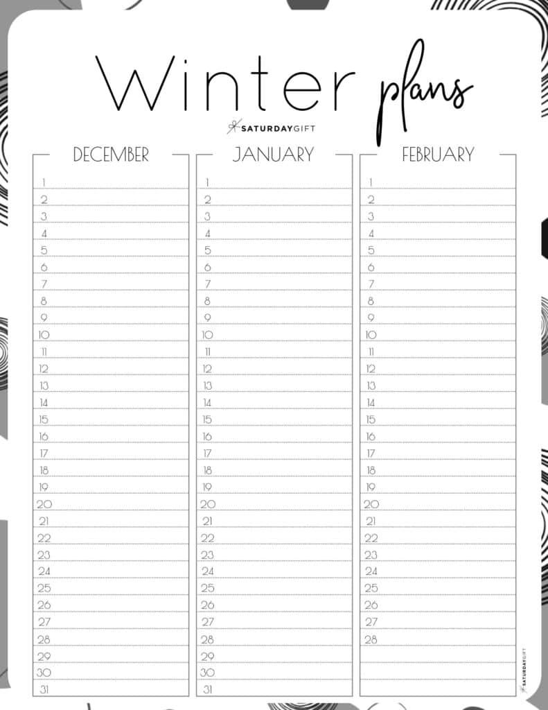 Black and white minimal one-page winter planner sheet.