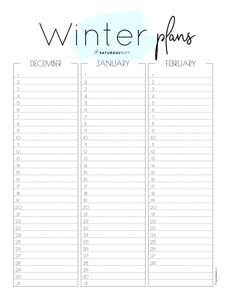 Cute blue one-page winter planner sheet.