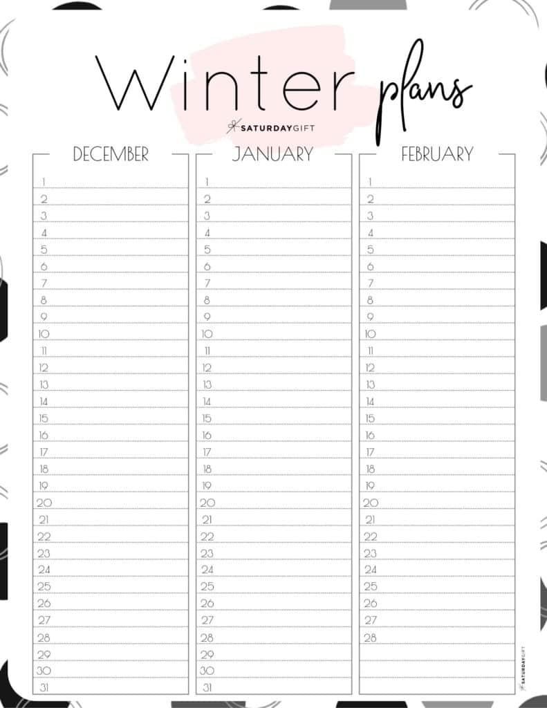 Cute pink one-page winter planner sheet.