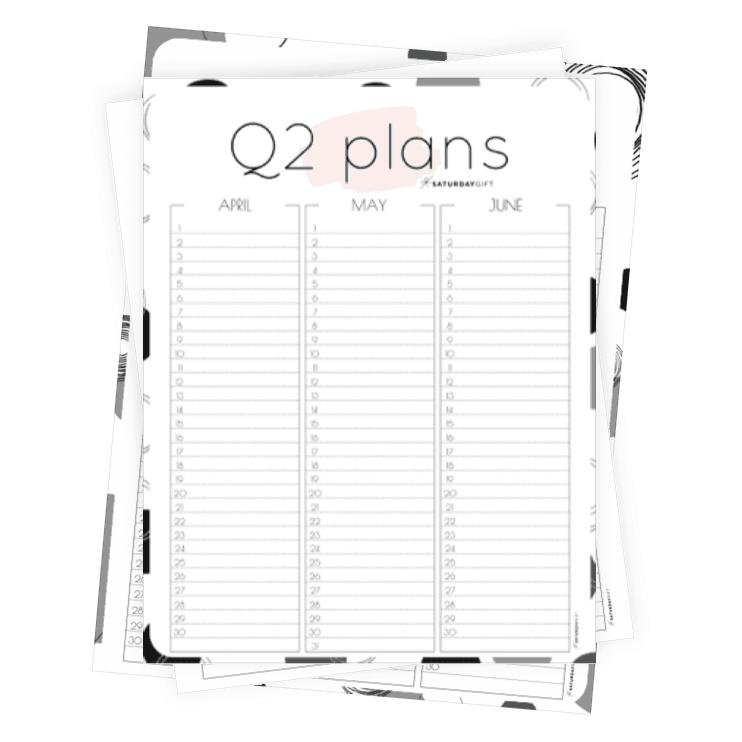 12 Week Plan - Q2 Minimal Quarter Two Planner for April May June ALL {Free Printable calendar worksheet} | SaturdayGift
