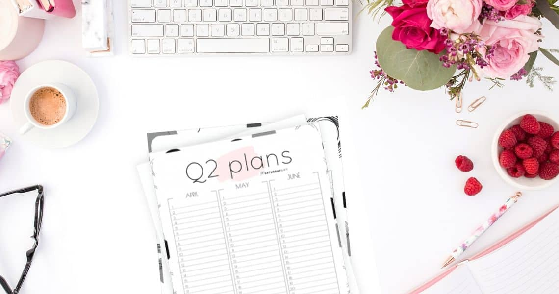 12 Week Plan - Q2 Minimal Quarter Two Planner for April May June {Free Printable calendar worksheet} | SaturdayGift