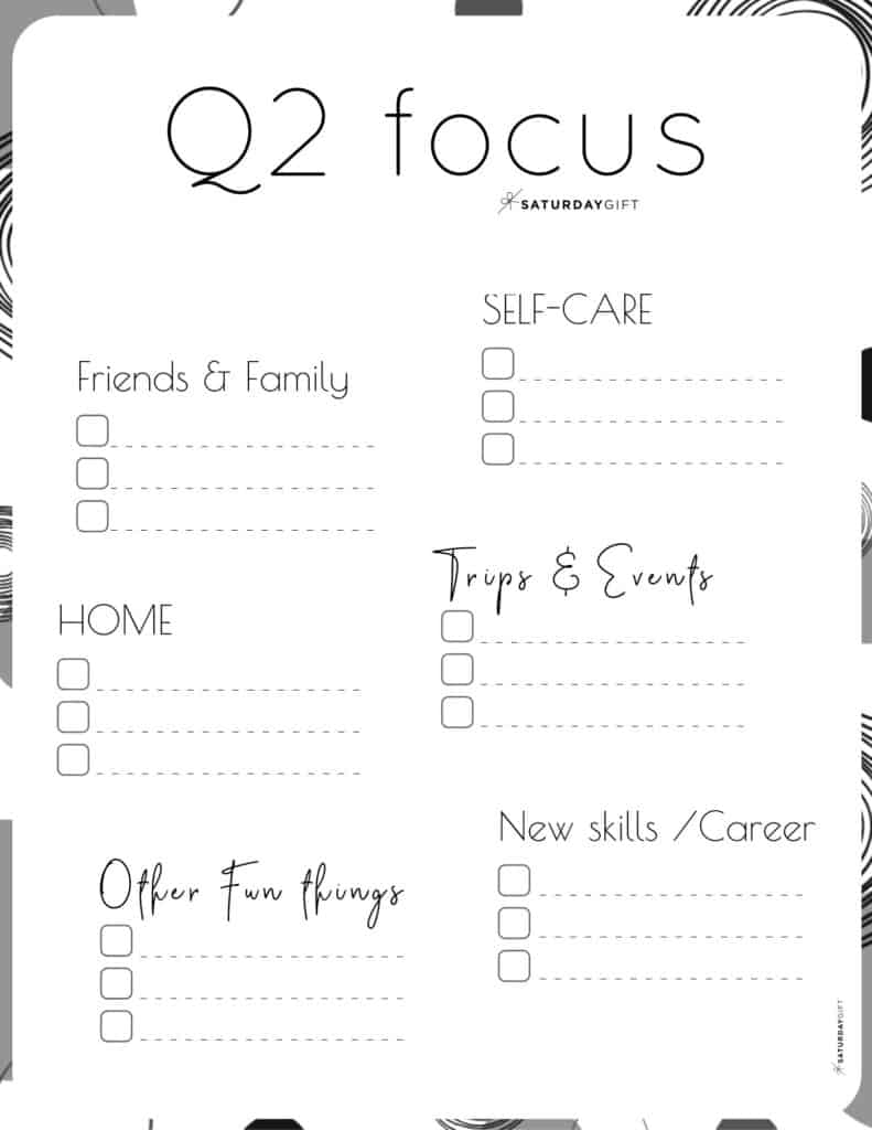 12 Week Plan - Q2 Quarter Two Plans and Goals for April May June black & white {Free Printable Worksheet} | SaturdayGift
