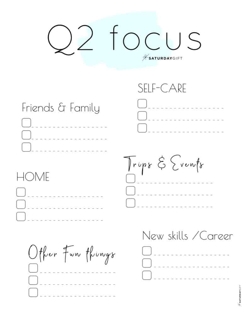 12 Week Plan - Q2 Quarter Two Plans and Goals for April May June blue {Free Printable Worksheet} | SaturdayGift