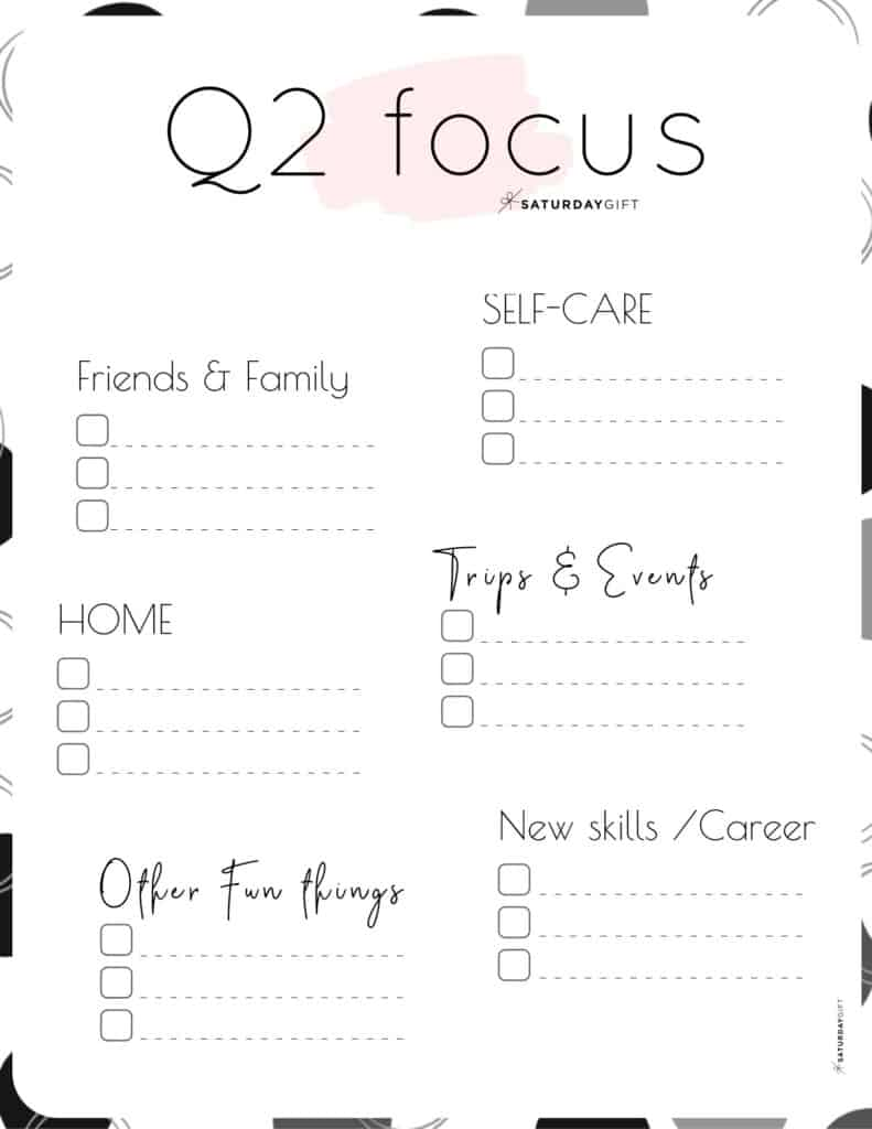 12 Week Plan - Q2 Quarter Two Plans and Goals for April May June pink {Free Printable Worksheet} | SaturdayGift
