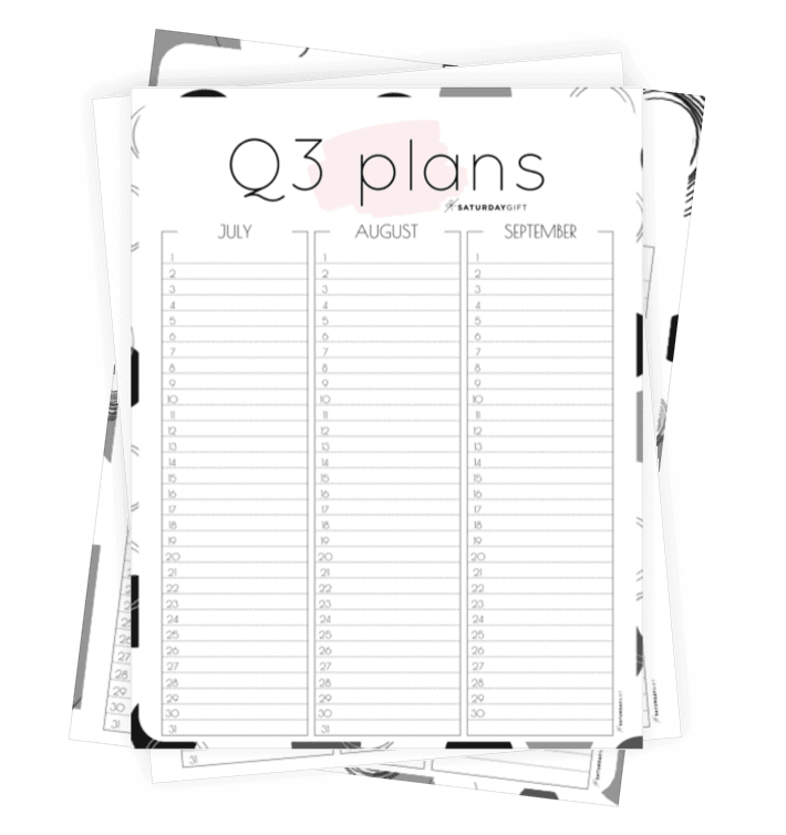 Q3 calendar: Quarter three planner for July, August and September worksheets
