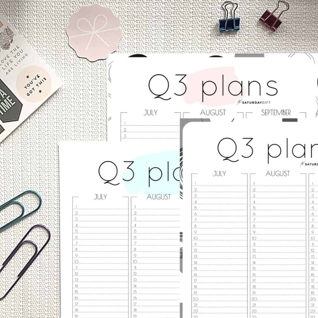 Pink, blue and black & white Q3 minimal printable planners