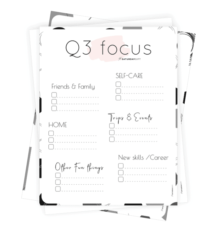 Collage of Q3 Focus Worksheets for July, August and September