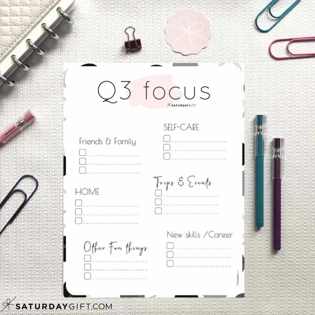 Pink Q3 Focus Worksheet for July, August and September
