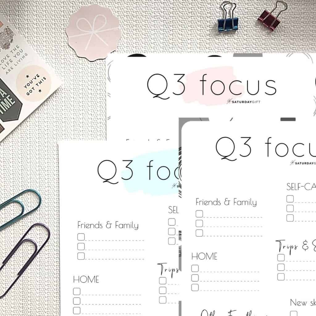 Pink, blue and black & white Q3 Focus Worksheet for July, August and September