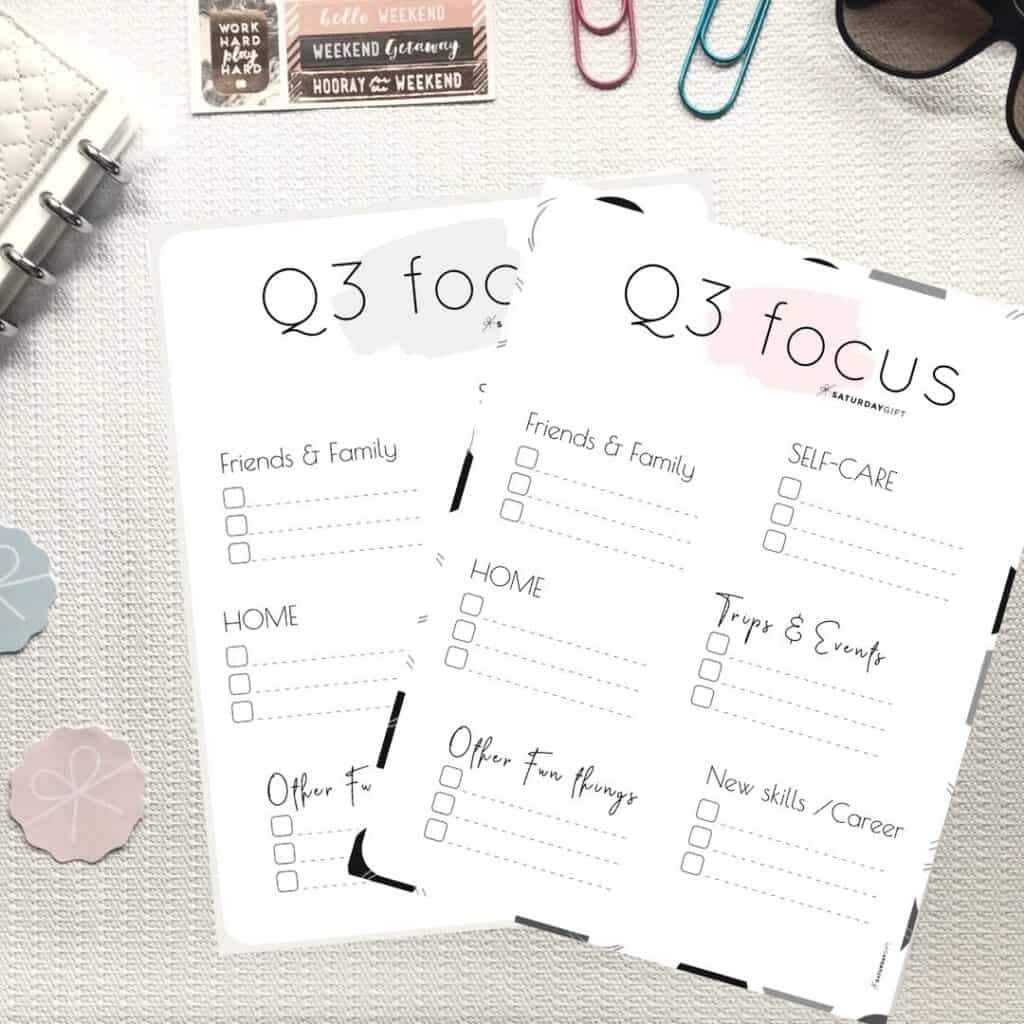 Pink and beige Q3 Focus Worksheet for July, August and September