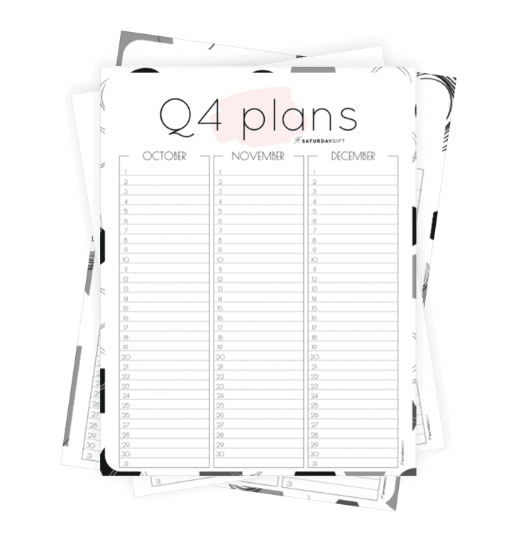 Q4 calendar: Quarter four planner for October, November & December Collage