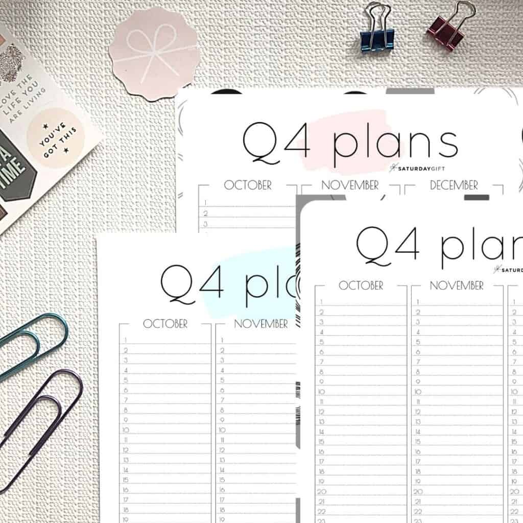 Pink, blue and Black and white Q4 minimal printable planner