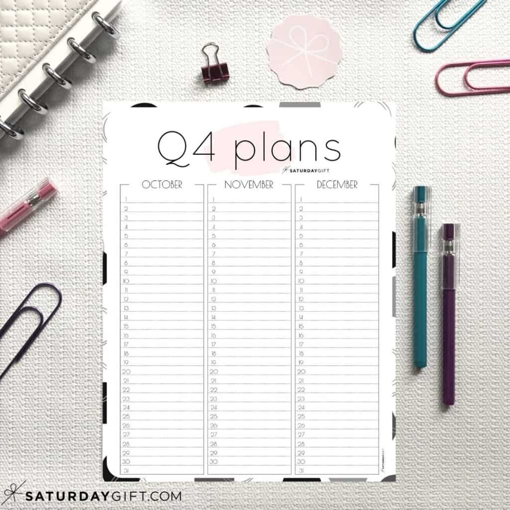 Pink Q4 minimal printable planner