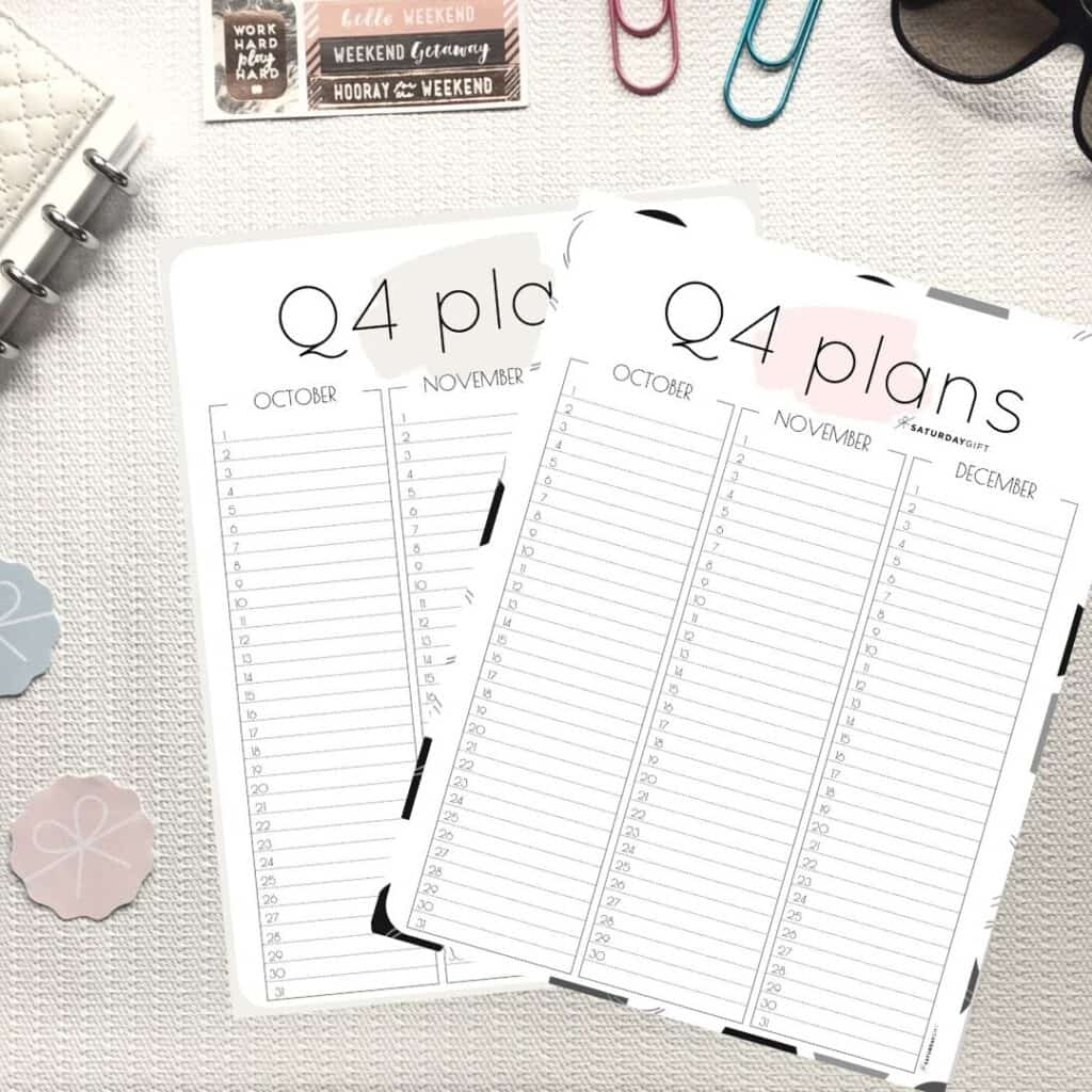 Q4 Minimal Quarter Four Planner for October November December {Free Printable calendar worksheet} | SaturdayGift