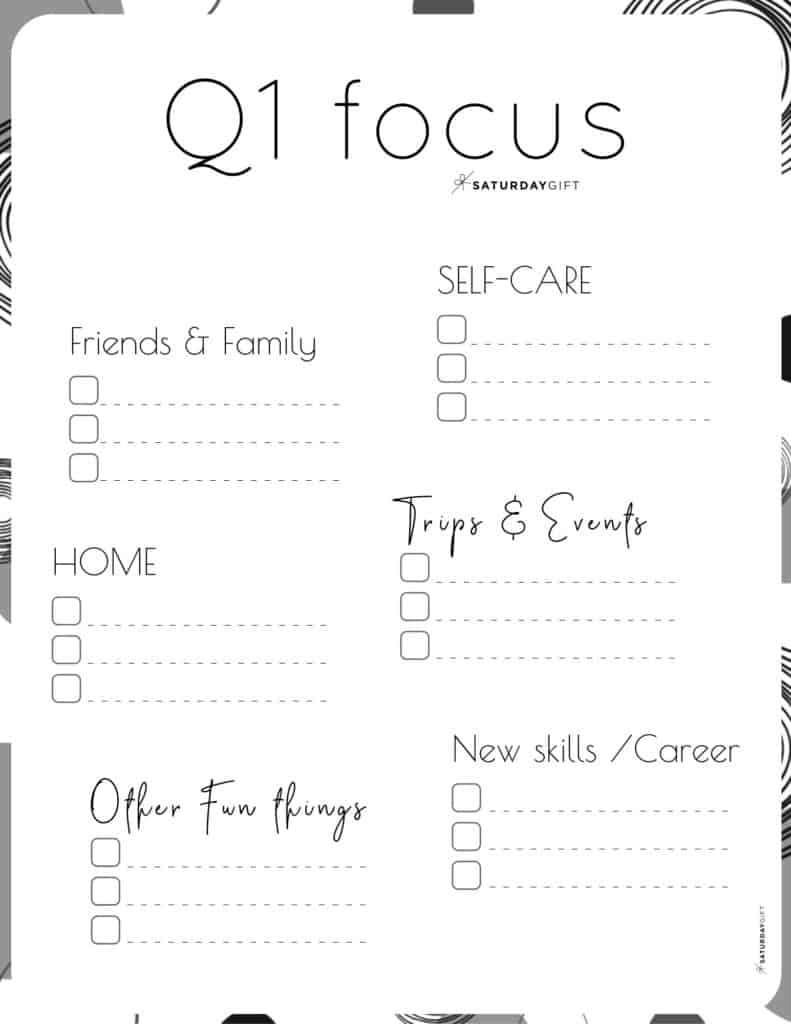 Quarter one plans and goals worksheets - Want to be extra productive and create a 12-week plan? Super! Here are minimal Q1 free printables to plan for January, February & March. Four different designs.