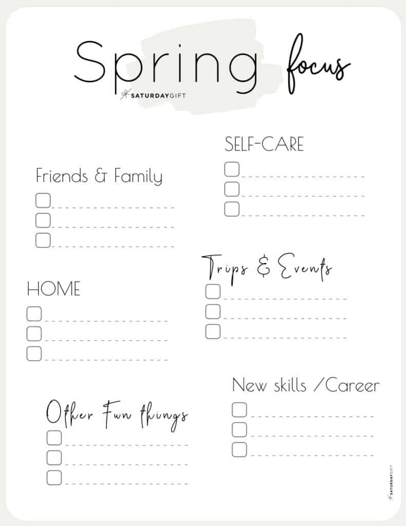 Spring Plans and Goals worksheet beige for March April May {Free Printable} | SaturdayGift