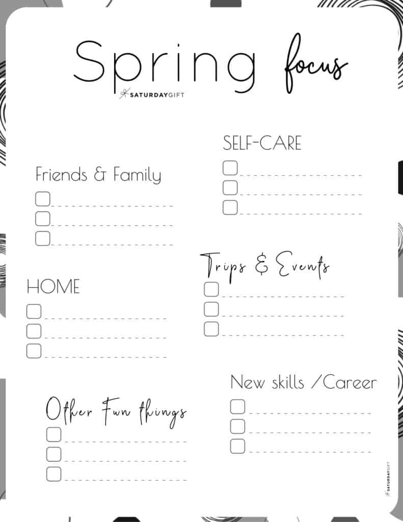 Spring Plans and Goals worksheet black & white for March April May {Free Printable} | SaturdayGift