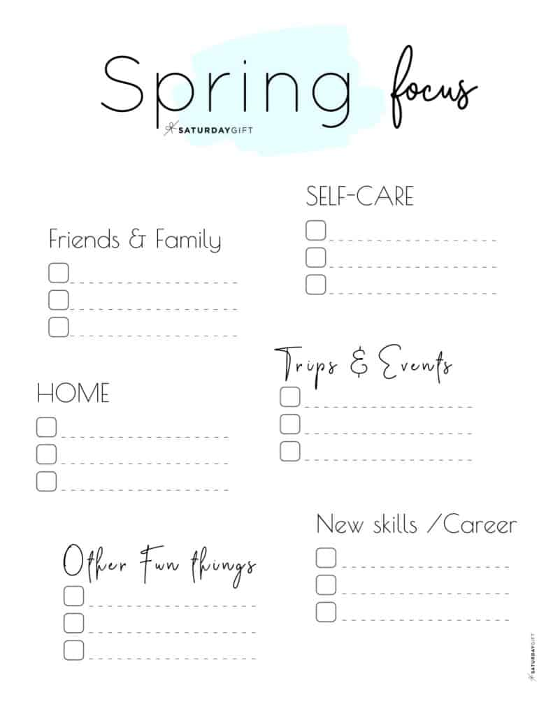 Spring Plans and Goals worksheet blue for March April May {Free Printable} | SaturdayGift
