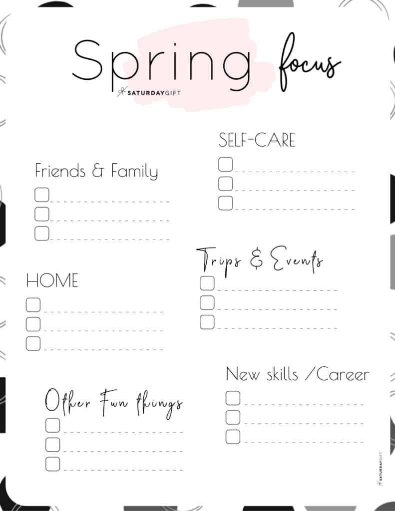 Spring Plans and Goals worksheet pink for March April May {Free Printable} | SaturdayGift