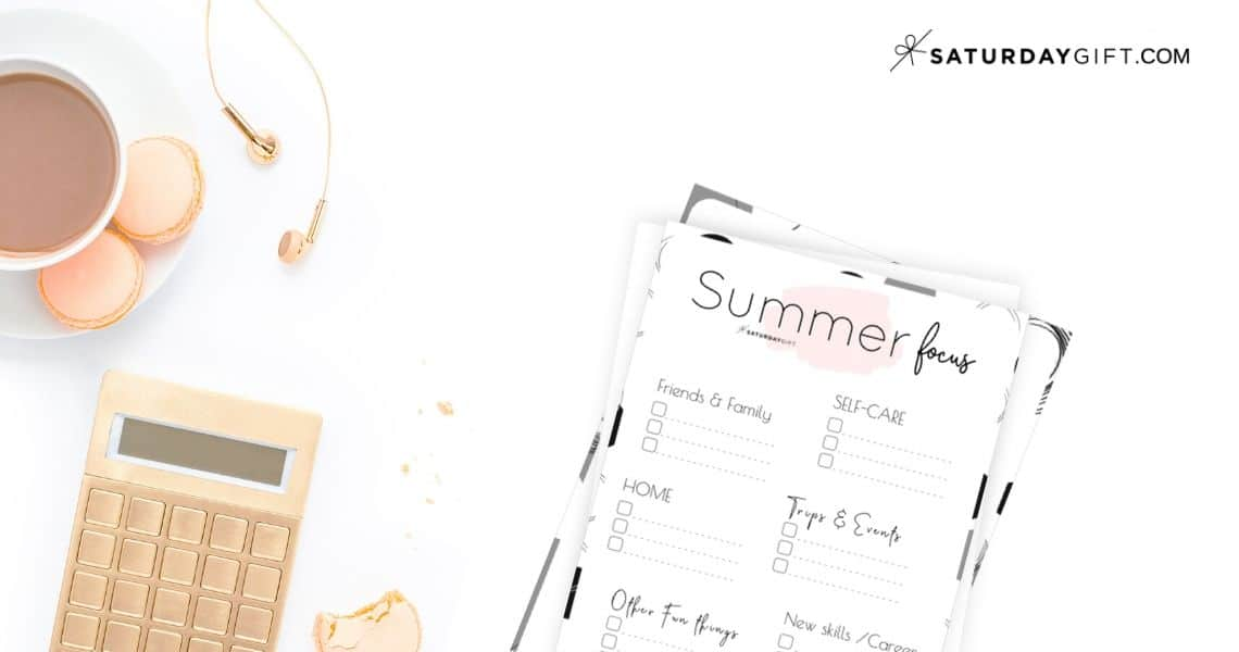 12 Week Plan - Summer Plans and Goals for June July August {Free Printable Worksheet} | SaturdayGift