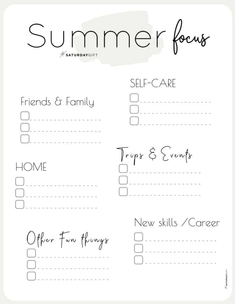 12 Week Plan - Summer Plans and Goals for June July August beige {Free Printable Worksheet} | SaturdayGift