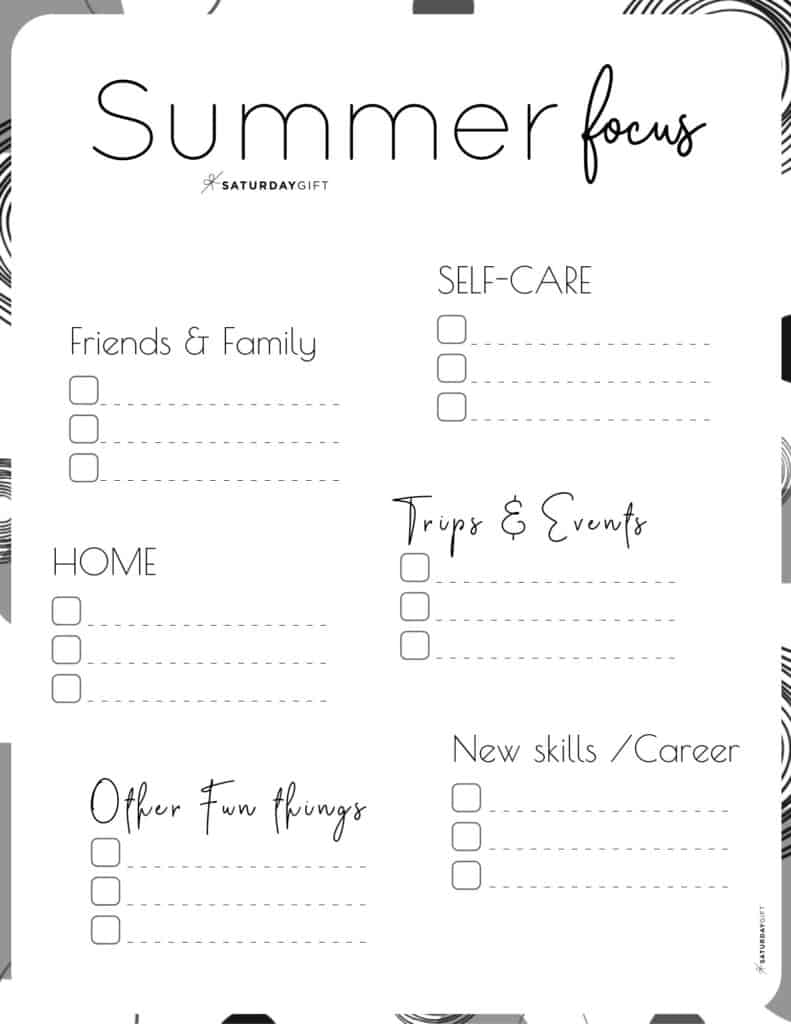 12 Week Plan - Summer Plans and Goals for June July August black & white {Free Printable Worksheet} | SaturdayGift