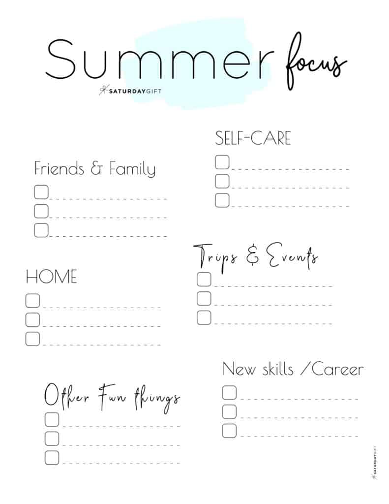 12 Week Plan - Summer Plans and Goals for June July August blue {Free Printable Worksheet} | SaturdayGift