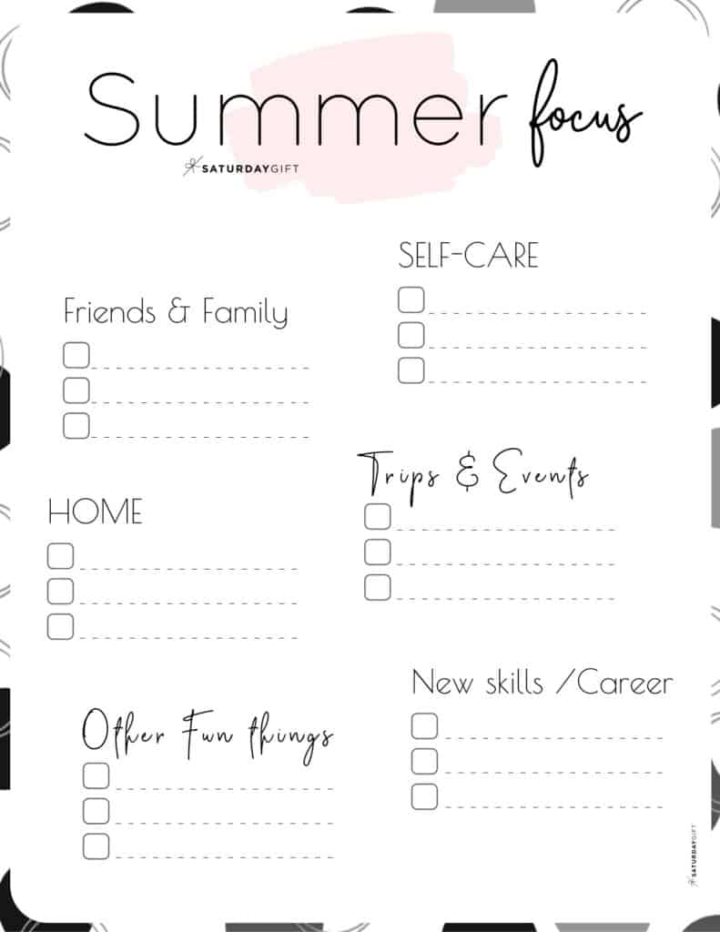 12 Week Plan - Summer Plans and Goals for June July August pink {Free Printable Worksheet} | SaturdayGift